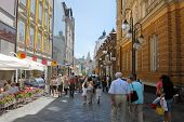 Main street of Ljubljana city, walking area, tight city street
