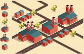 manufacture factory area. isometric vector