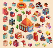 Colorful vector isometric mosque and buildings collection