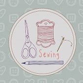 sewing vector seamless pattern