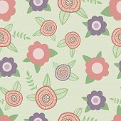 Elegant seamless pattern with flowers hand drawn