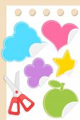 colorful different shape stickers on blank paper
