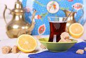 Turkish Tea With Cane Sugar And Lemon