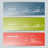 Set of banners with contour urban landscape