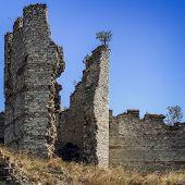 Ruins Of Byzantine Walls In Istanbul, Turkey