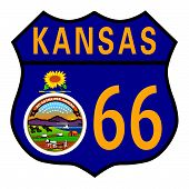 Route 66 Kansas Sign And Flag
