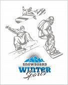 Snowboard - winter sport. Vector stock illustration.