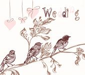 Illustration With Birds In Vintage Style For Wedding Cards