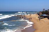 Many Unknown People On Umdloti Beach Near Durban