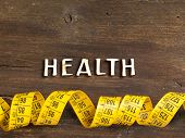 The Word Of Health On Wood And Measuring Type