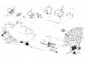 Sea Creatures Moms And Kids Doodle