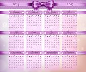 Calendar With Purple Christmas Bow And Ribbon On 2015 In Vector