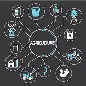 image of truck farm  - agricultureand farm elements diagram in black background - JPG