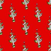 Seamless pattern with Christmas trees on a background.