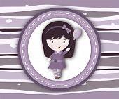 Little Girl Label Card On Stripey Violet Background
