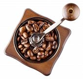 Coffee grinder with roasted coffee beans