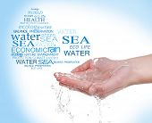 Concept of world's water reserve, words in drop shape in hand on blue background