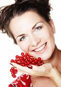 beautiful woman with red currant