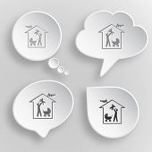 Family home. White flat vector buttons on gray background.