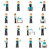 Waiter Man Icon Flat