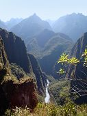 image of andes  - andes scenery with river near Machu Picchu a ancient Inka city in the Andes located in Peru (South America)