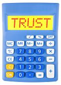 Calculator With Trust On Display Isolated
