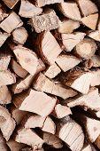 Woodpile From Dry Oak Logs.