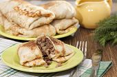 Pancakes With Minced Meat.