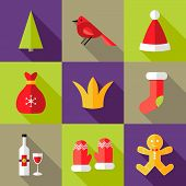 9 Christmas Flat Icons Set 6