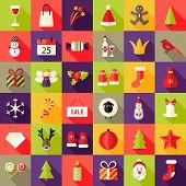 Big Christmas Squared Flat Icons Set 2