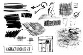Vector Set Of Hand Drawn Abstract Doodles And Shapes