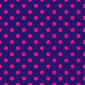 Seamless vector pattern with pink polka dots on a dark blue background.