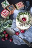 Christmas Menu. Letter Cubes Xmas And Cake