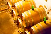 stock photo of wine cellar  - Wine oak barrels in the cellar for maturing of wine - JPG