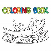 Coloring Book Of Little Alligator Or Crocodile