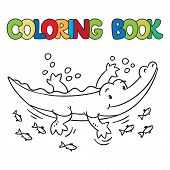 picture of alligator baby  - Coloring book or coloring picture of little funny alligator or crocodile swims in the lake - JPG