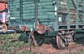 Old Abandoned  Trains At  Depot In Sunny Day