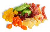 dried fruits (strawberry, mango, tangerine, lemon, etc) on a white background