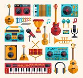 stock photo of tool  - Set of vector modern flat design musical instruments and music tools icons - JPG