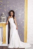 Beautiful Elegant Bride With Dark Hair Posing At Luxurious Studio