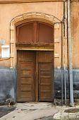 Wooden Front Door And Plate