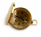 Single Golden Compass On White Background