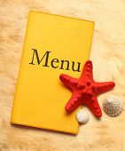 Yellow Menu Book, Seastar And Seashells
