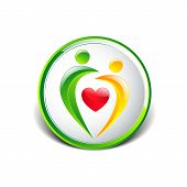 Abstract colorful people and heart icon
