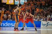 VALENCIA, SPAIN - DECEMBER 7:  vives with ball during Endesa Spanish League game between Valencia Basket Club and Laboral Kutxa Baskonia at Fonteta Stadium on December 7, 2014 in Valencia, Spain