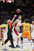 VALENCIA, SPAIN - DECEMBER 5: start the game during Euroleague match between Valencia Basket Club and Crvena Zvezda Telekom Belgrade at Fonteta Stadium on Dicember 5, 2014 in Valencia, Spain