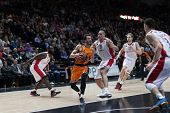 VALENCIA, SPAIN - DECEMBER 5: Ribas with ball during Euroleague match between Valencia Basket Club and Crvena Zvezda Telekom Belgrade at Fonteta Stadium on Dicember 5, 2014 in Valencia, Spain