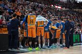 VALENCIA, SPAIN - DECEMBER 7:  Valencia players during Endesa Spanish League game between Valencia Basket Club and Laboral Kutxa Baskonia at Fonteta Stadium on December 7, 2014 in Valencia, Spain