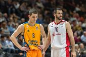 VALENCIA, SPAIN - DECEMBER 5: Nedovic 8, Lazic 10 during Euroleague match between Valencia Basket Club and Crvena Zvezda Telekom Belgrade at Fonteta Stadium on Dicember 5, 2014 in Valencia, Spain