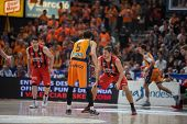 VALENCIA, SPAIN - DECEMBER 7:  Ribas with ball during Endesa Spanish League game between Valencia Basket Club and Laboral Kutxa Baskonia at Fonteta Stadium on December 7, 2014 in Valencia, Spain